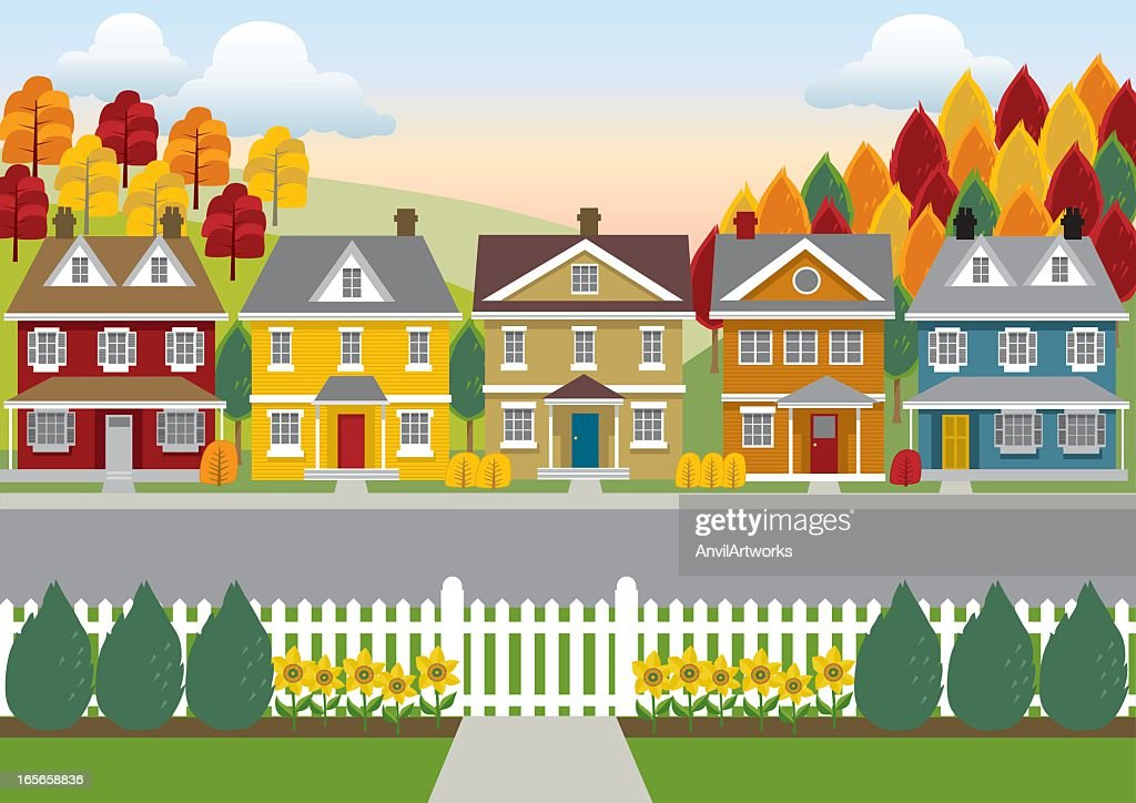 Colorful illustration of a row of houses, road, and trees : Stock Illustration
