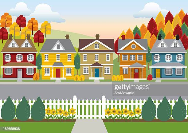 Colorful illustration of a row of houses, road, and trees