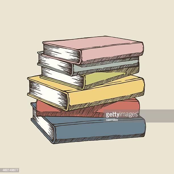 A colorful illustration of a stack of books
