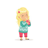 Colorful illustration of cute blond girl with cup of sweet refreshing drink. Cartoon little child character in pink pants and turquoise sweater. Flat vector design