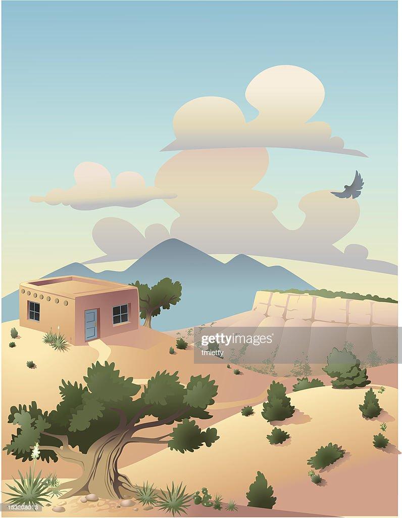 Colorful illustration of desert and mountain scene