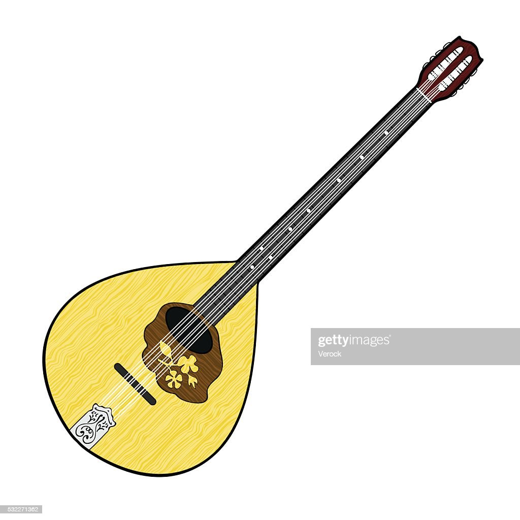 Colorful illustration of Irish Bouzouki