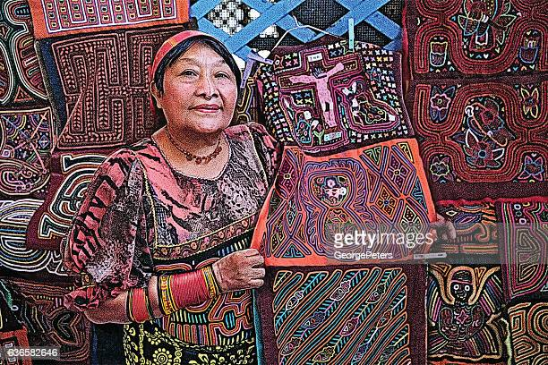 colorful illustration of kuna artist selling her art and crafts - panama stock illustrations, clip art, cartoons, & icons