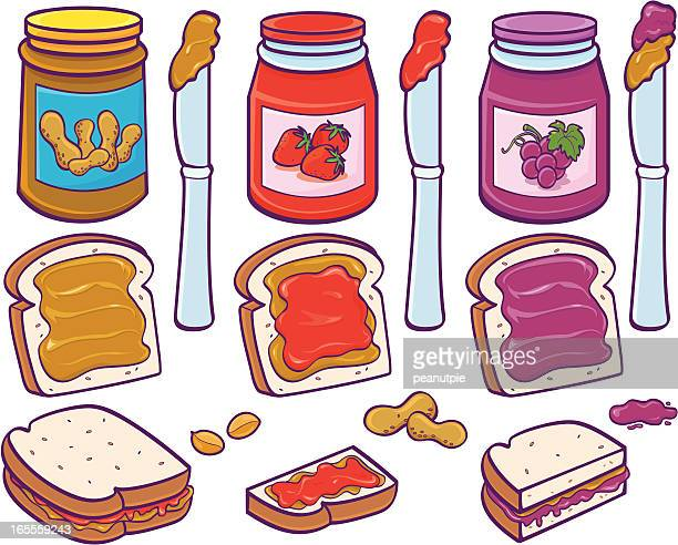 colorful illustration of peanut butter and jelly sandwiches - peanut butter and jelly sandwich stock illustrations