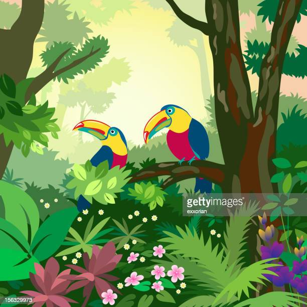 colorful illustration of two toucans in the forest - liana stock illustrations, clip art, cartoons, & icons