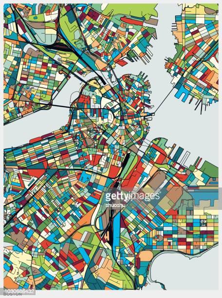 bunte illustration stil karte von boston city - stadtplan stock-grafiken, -clipart, -cartoons und -symbole
