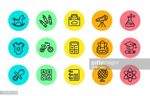 colorful illustrations of symbols for school, daycare, preschool, kindergarten, grade, middle and high school. - exercise book stock illustrations