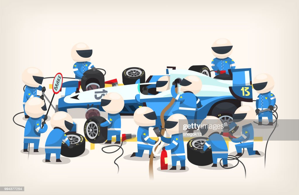 Colorful image with pit stop workers