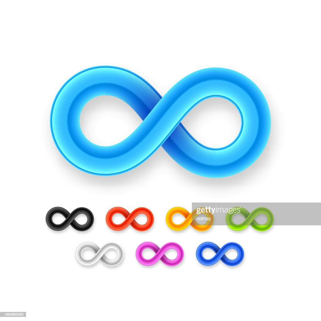 Colorful Infinity Symbol Set Icon From Glossy Wire With Shadow ...