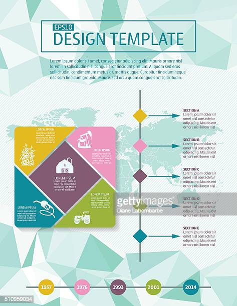 colorful infographic element with icons and text - flyer template - newsletter stock illustrations