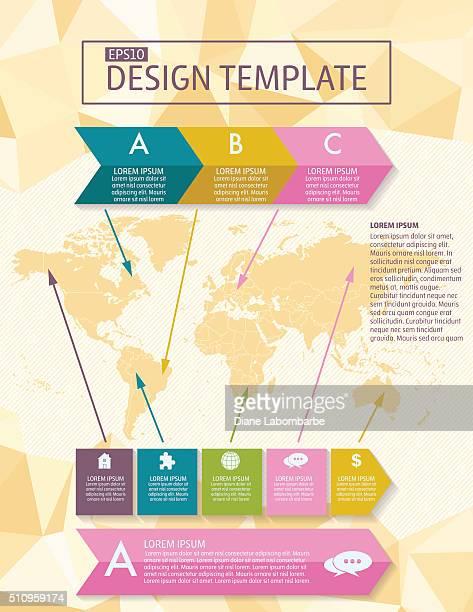 Bunte Infografik-Elemente mit Symbole und Text-Flyer-Vorlage