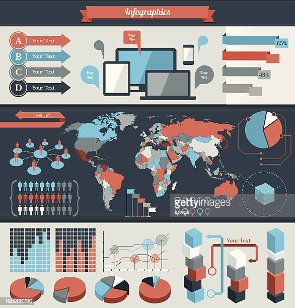 Colorful infographic elements for global data