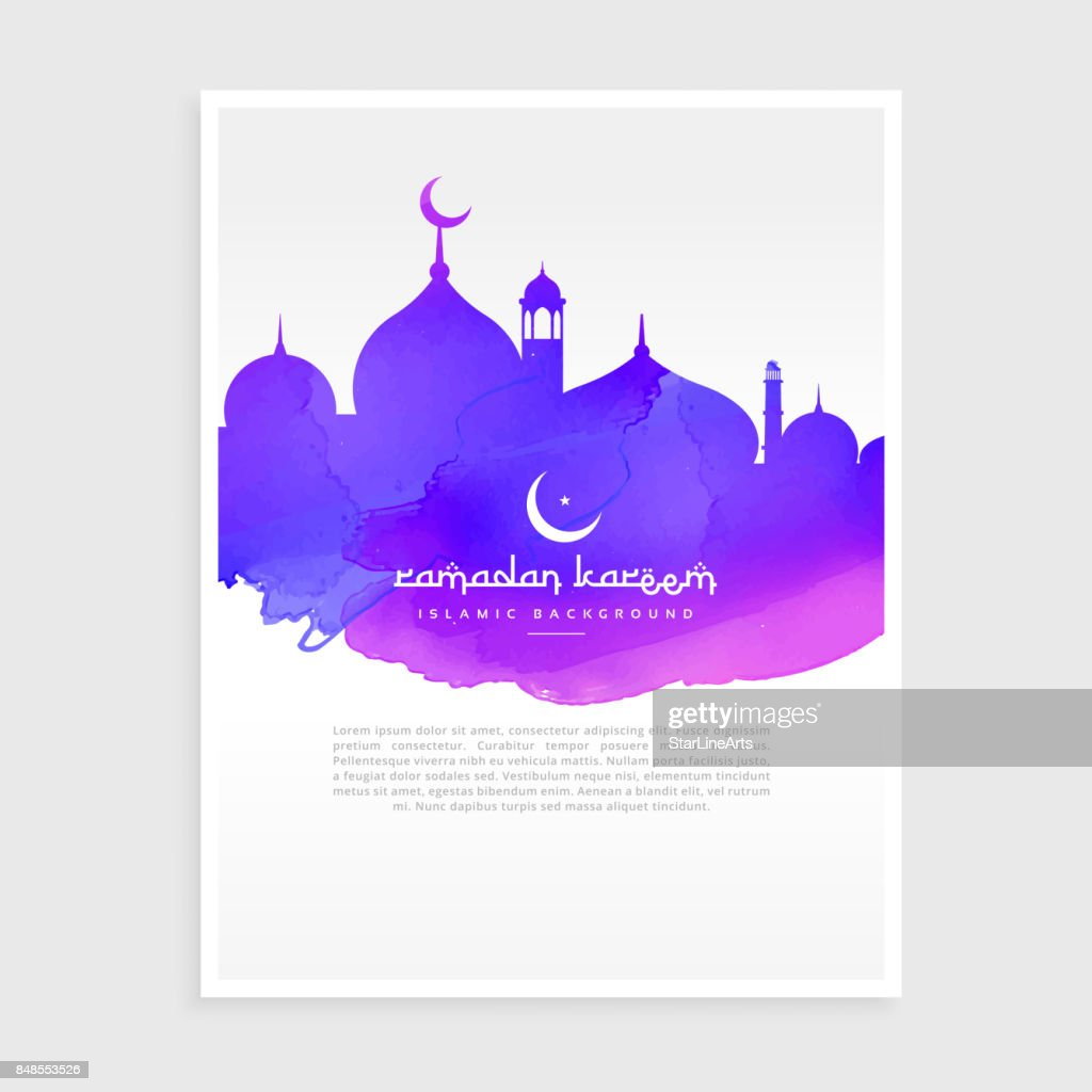 colorful ink style ramadan kareem flyer poster