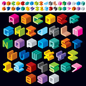 Colorful Isometric 3d Type Font set