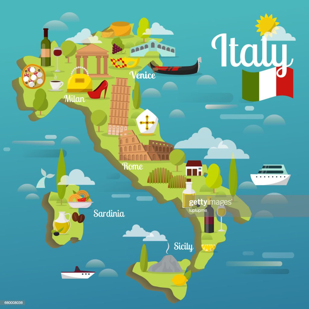 Colorful Italy travel map with attraction symbols italian sightseeing world architecture vector illustration