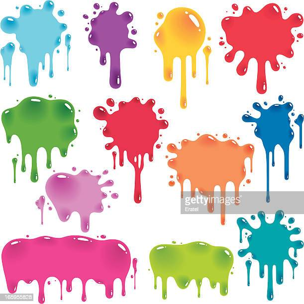 colorful jelly splatters - slimy stock illustrations