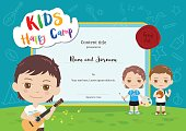 Colorful kids summer camp diploma certificate template in cartoon style