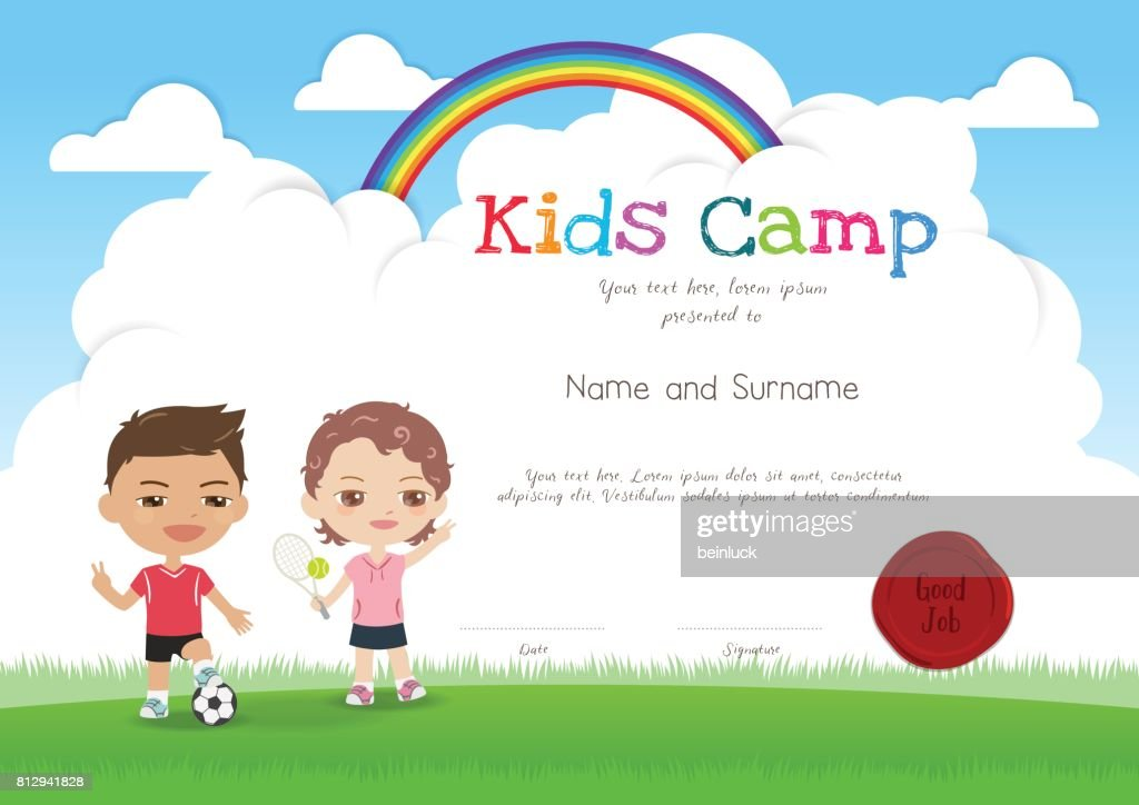 Colorful kids summer camp diploma certificate template in cartoon colorful kids summer camp diploma certificate template in cartoon style vector art yelopaper Image collections