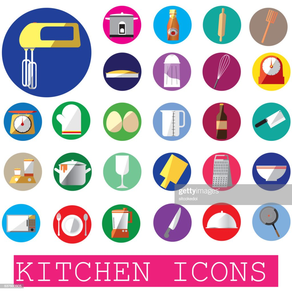 colorful kitchen icons in color circle