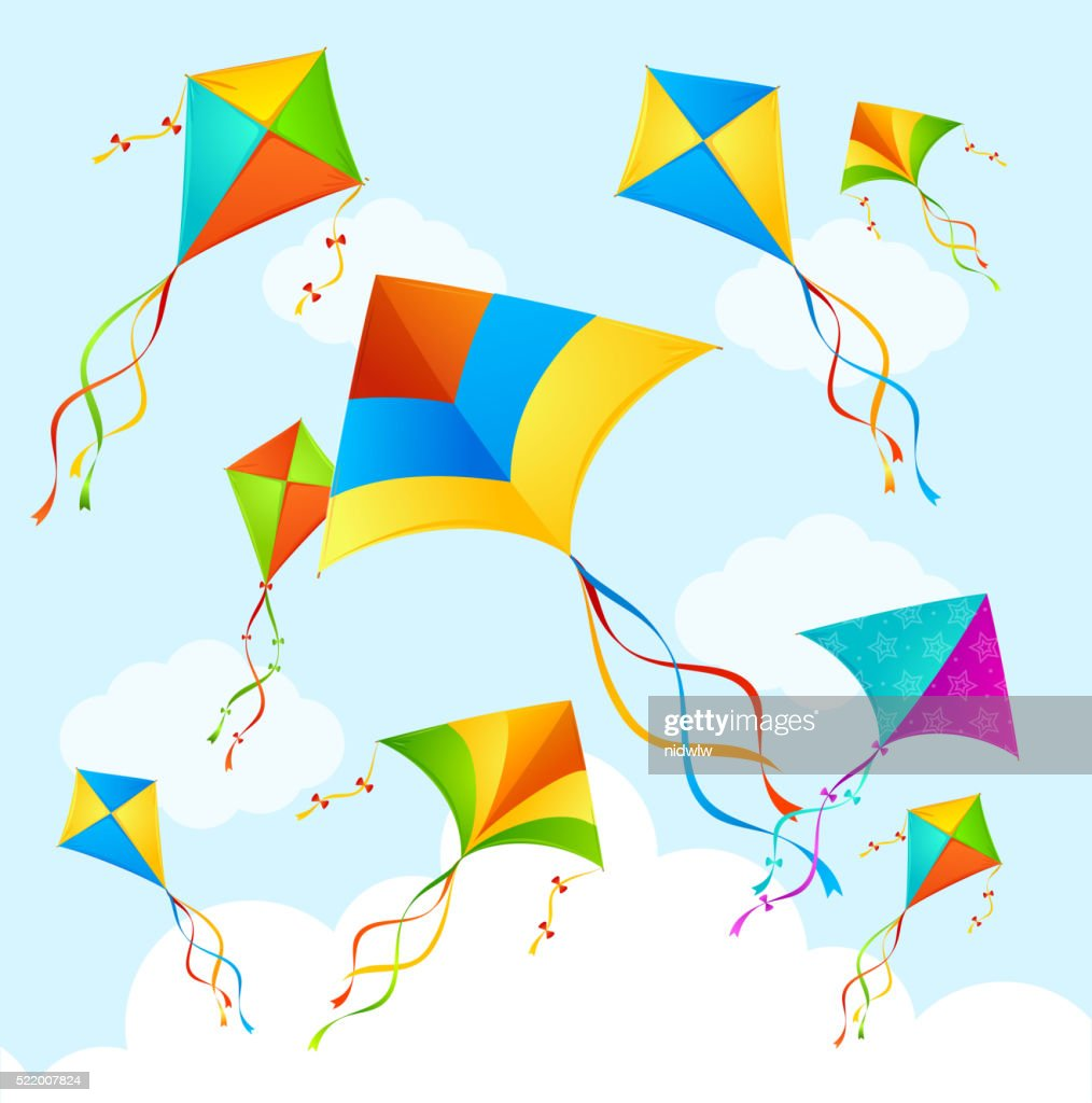 Colorful Kite Background. Vector