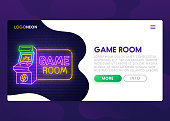 Colorful Landing Page. Mock up website. Home Page. Web banner templates. Social media, business app, seo and marketing. Theme Game Room. Gamer. Neon sign style. Vector illustration