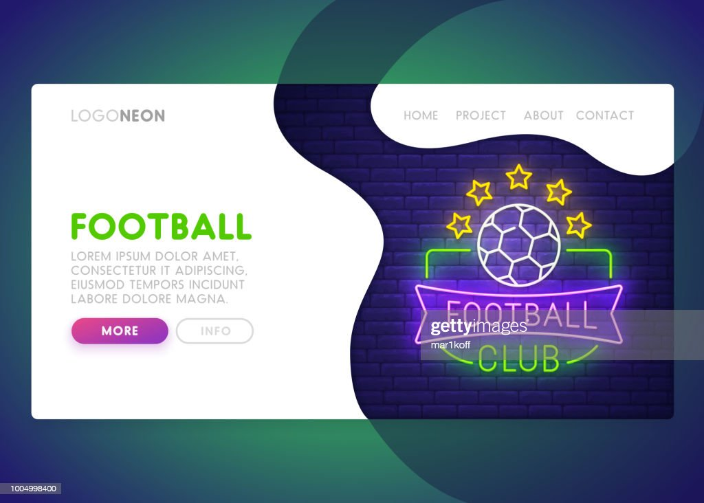 Colorful Landing Page. Mock up website. Home Page. Web banner templates. Social media, mobile app. Theme Football club.  Neon sign style. Football champion. Vector illustration