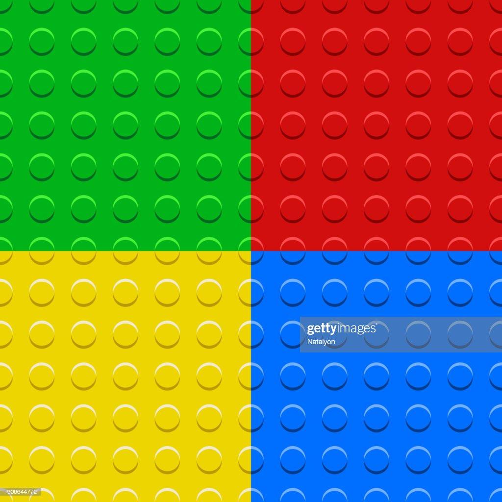 Colorful lego blocks plates seamless patterns set, vector