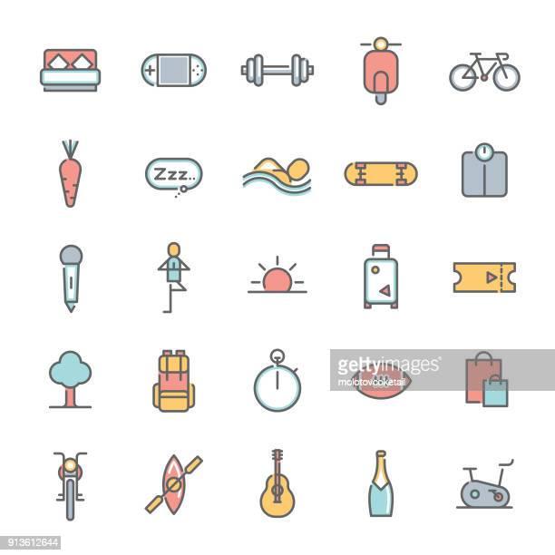 colorful lifestyle minimalist line icon set - leisure activity stock illustrations, clip art, cartoons, & icons