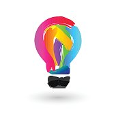 Colorful light bulb made of paint