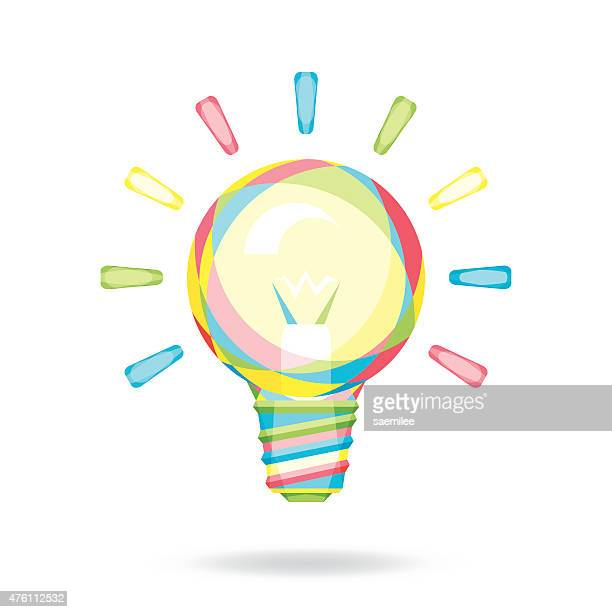 colorful light bulb - ideas stock illustrations