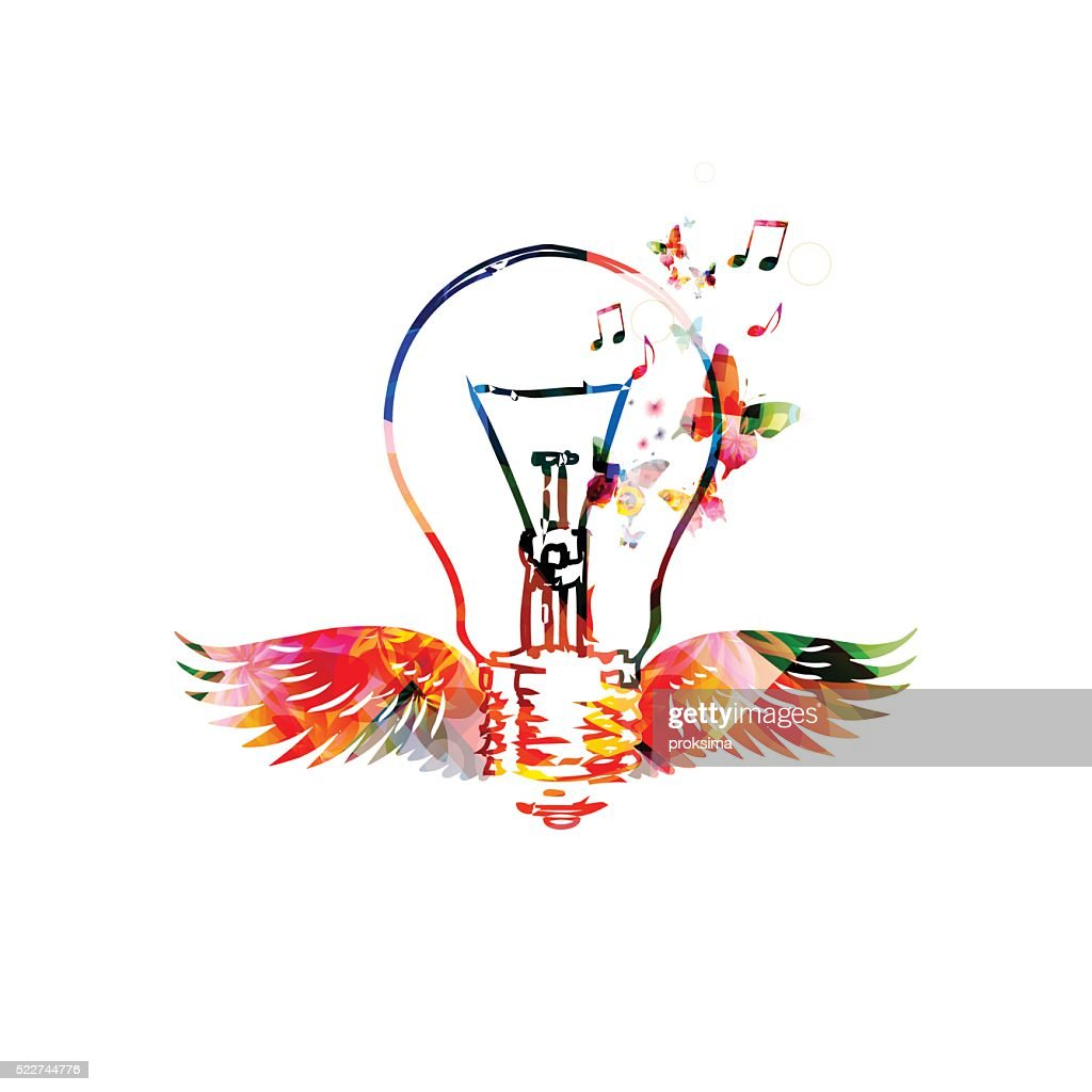 Colorful light bulb with wings