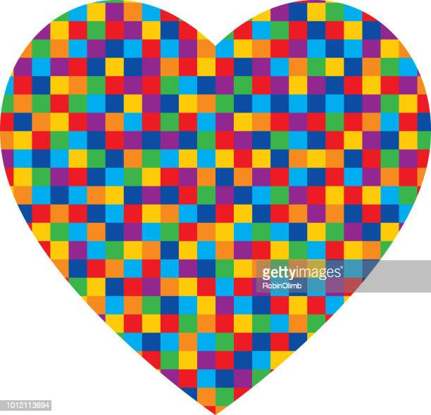 colorful little squares heart - marriage equality stock illustrations, clip art, cartoons, & icons