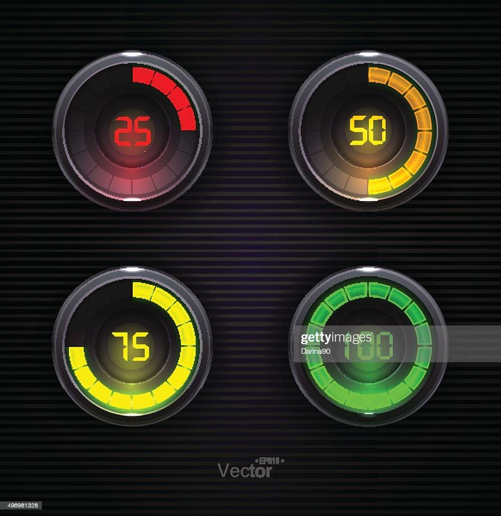 Colorful Loading spinners. Preloader Progress Web Downloading Bar