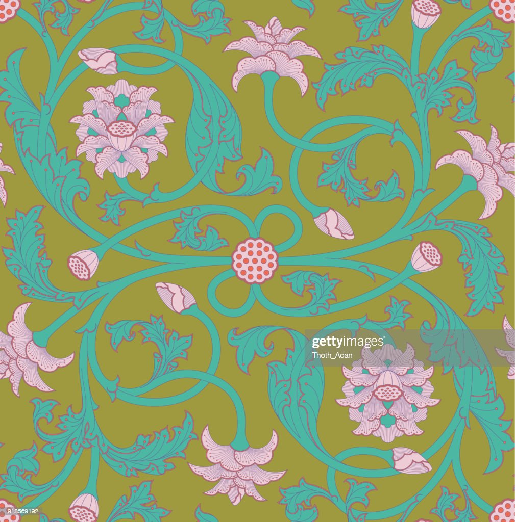 Colorful lotus flower tendril pattern vector art getty images colorful lotus flower tendril pattern five colored version vector art mightylinksfo