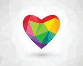 Colorful low poly heart