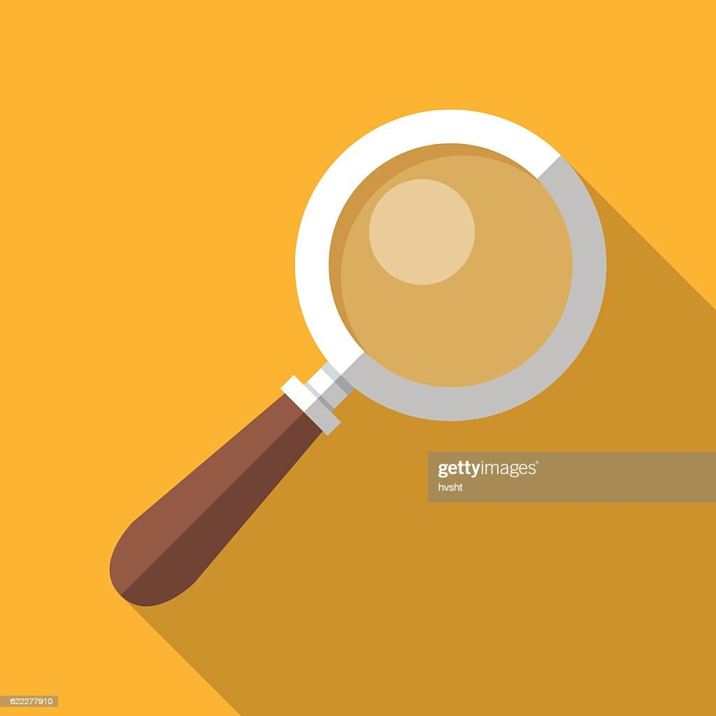 Colorful magnifying glass icon in modern flat style