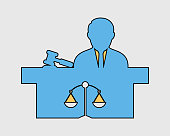 Colorful Male Judge Icon with balance and hammer symbol