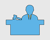 Colorful  male Judge Icon with hammer symbol