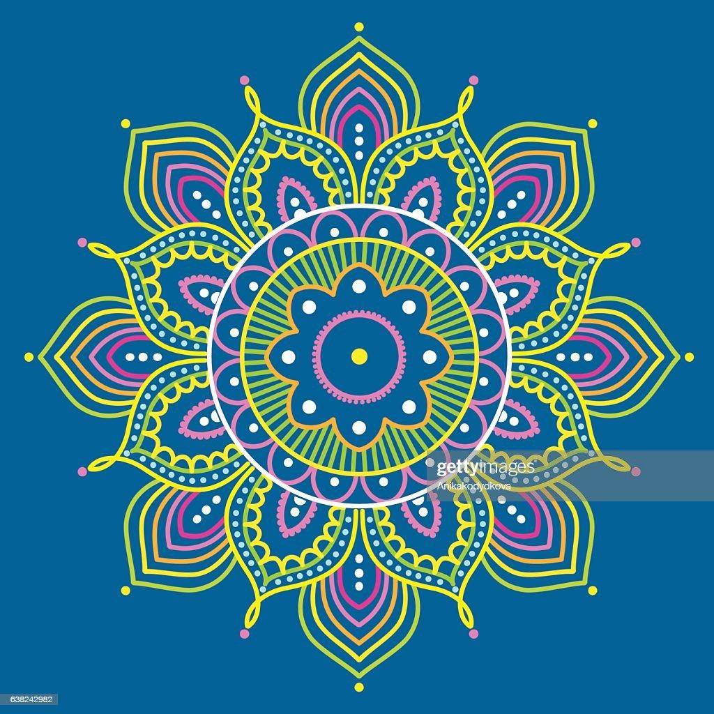 Colorful mandala on blue background, illustration