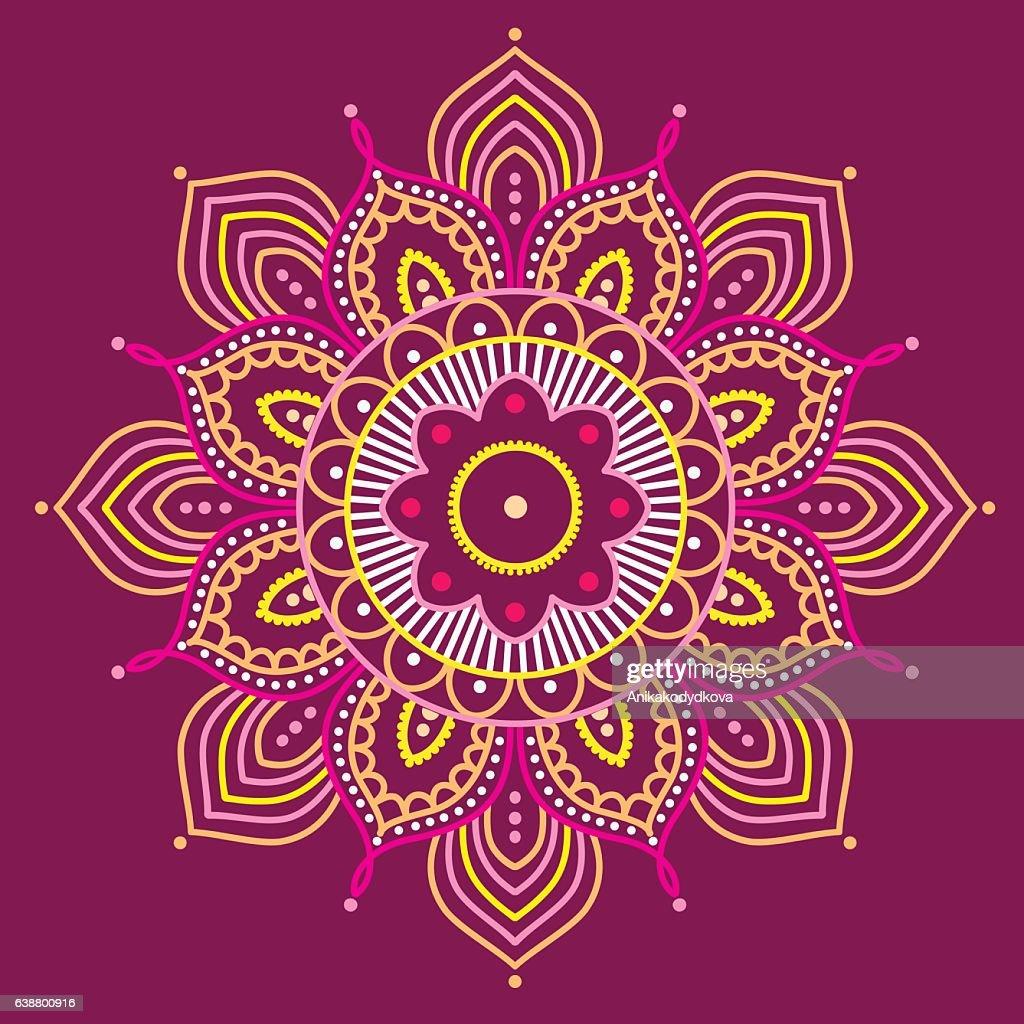 Colorful mandala on purple background, illustration