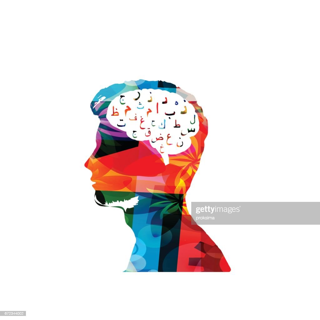 Colorful man's head with arabic islamic calligraphy symbols