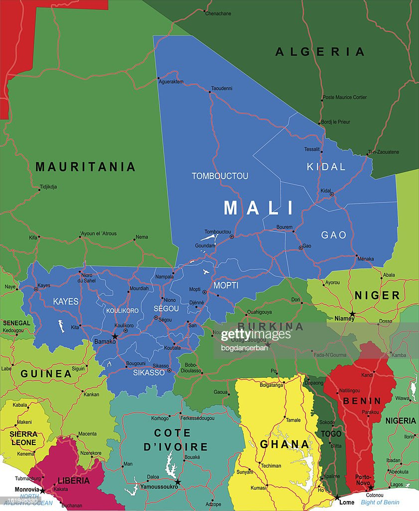 Colorful Map Of Africa With Mali Highlighted In Blue Vector Art