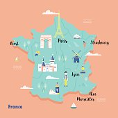 Colorful map of France in retro style with popular landmarks.