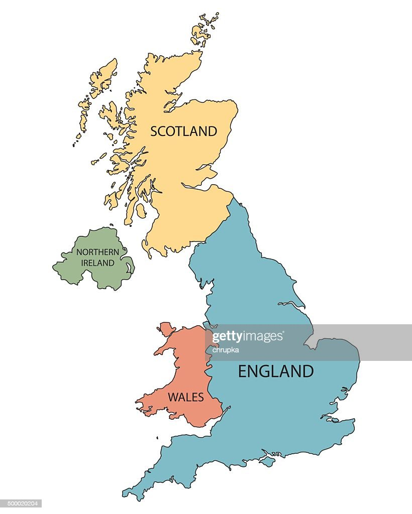 colorful map of United Kingdom countries