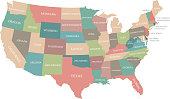 Colorful map of USA states vector outline illustration with states names labeled. Creative map of United States of America in grunge background