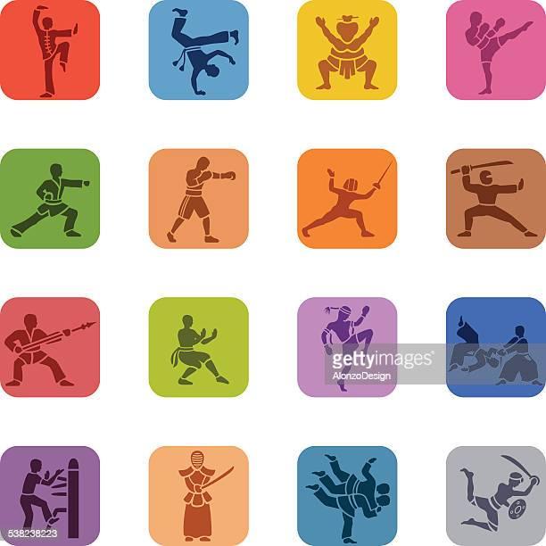 ilustrações de stock, clip art, desenhos animados e ícones de colorido de ícones de artes marciais - capoeira