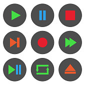 Colorful media player control buttons set. Play, pause, stop, record, forward, rewind, previous, next, eject, repeat  icon. Vector