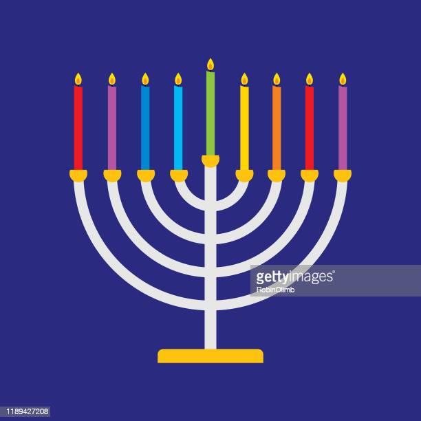 colorful menorah icon - menorah stock illustrations