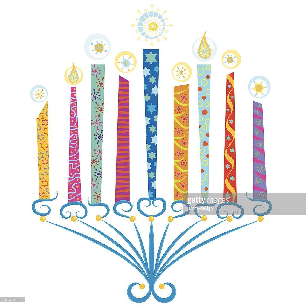 Colorful Menorah : stock illustration