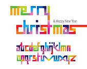 Colorful merry font set